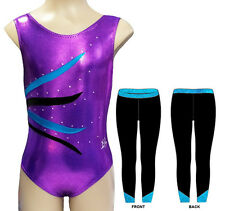 PURPLE AQUA LEOTARD & LEGGINGS SET - GIRLS SIZES 2 to 16 - GYMNASTICS DANCE GYM