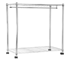 Garment Rack Adjustable Hanger Rolling Clothes with Top Bottom Shelves Chrome