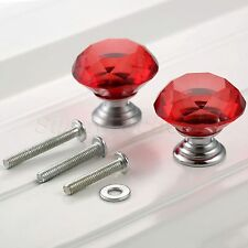 Knobs Red Crystal Glass Pull Handle Cupboard Closet Cabinet Kitchen Knob 30mm