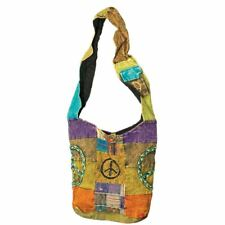 Nepal Patchwork Shoulder Bag With Peace Signs - Hippie Gypsy Boho Backpack
