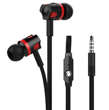 3.5mm In-Ear Flat Earphone Super Bass Stereo Headphones Headset Earbuds With Mic