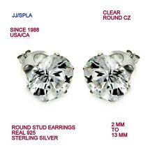 Sterling Silver Clear Round CZ Stud Earring 2 MM TO 13 MM=0.03 TO 7.75 CARAT