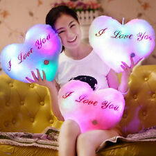 Heart Shape Glowing LED Pillow 7 Color Changing Light Up Soft Cosy Relax Cushion