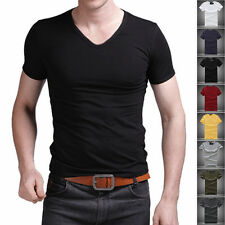 New Men's V Neck Tops Tee Shirt Slim Fit Short Sleeve Solid Color Casual T-Shirt
