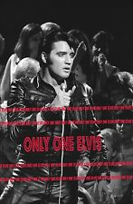 ELVIS PRESLEY on TELEVISION 1968 Photo NBC COMEBACK SPECIAL Black Leather