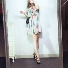 Stereo stripe color elastic waist pleated skirt dress vest dress spring summer
