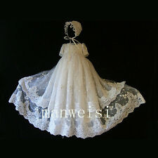 Christening Dress Luxury Lace Baby Toddler Vintage Antique Beads Baptism Gowns