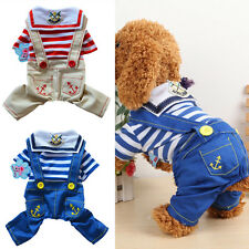 Pet Puppy Sailor Striped Overall Bib Pants Jumpsuit Outfits Dog Apparel Clothes