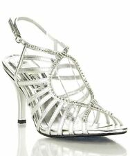 Lasonia S7544 Open Toe Rhinestone Embellished Strappy Dress Sandals SILVER PU