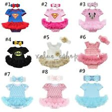 Newborn Baby Girl Minnie Mouse Romper Bodysuit Dress Headband Party Outfit 0-9M