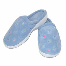 New Isotoner Women's Terry Scalloped Embroidered Clog Slippers