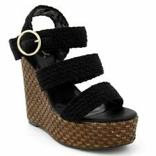 Qupid Katrina-22 Strappy Sling back Multi Straps Braided Wedge Sandals BLACK