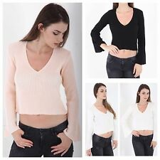 WOMENS LADIES BASIC RIBBED V NECK BELL LONG SLEEVE KNITTED CROP JUMPER TOP 8-16