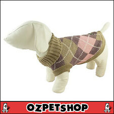 Huskimo Argyle Pink Knit Jumper For Small Dogs