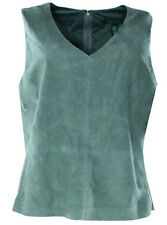 NWT RALPH LAUREN Green Sleeveless V-Neck Lined Leather Suede Blouse Top $325