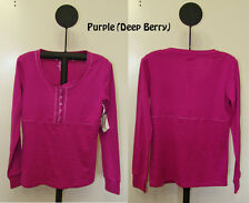 Soft Sensations Purple or Black Scoop Neck with Button Front Long Sleeve Top - S