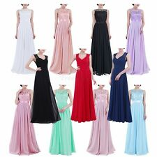 Women Ladies Lace Chiffon Tulle Long Gown Bridesmaid Dress Evening Prom Cocktail