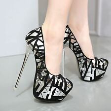 Womens Super High Heel Platform Sequins Clubwear Shoes Pumps Shinny Stilettos