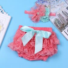 Baby Toddler Girls Lace Ruffled Diaper Skirt&Headband Set Infant Outfit Bloomer