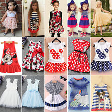 Baby Kids Girls Summer Dress Party Princess Sundress Long Top Outfits 1-7 Years