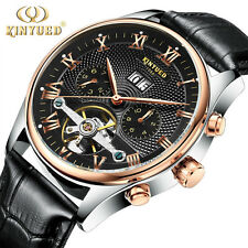KINYUED Luxury Mens Skeleton Tourbillon Mechanical Watch Leather Date Wristwatch