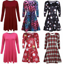 Womens Plain & Printed Swing Dress Ladies Long Sleeve Fancy Party Skater Shirt