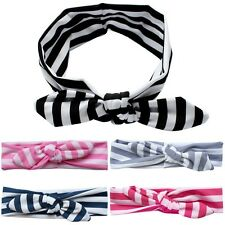 Baby Girls Toddler Striped Turban Rabbit Ear Bow Headband Hair Band Accessories
