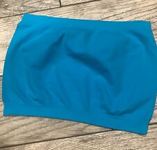Plus One Size Bandeau Bra Top Seamless Tube Strapless Stretchy Turquoise