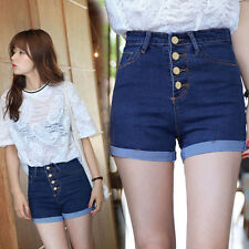 Trendy Women  High Waist Single Breasted Curling Tight Jeans Denim Shorts