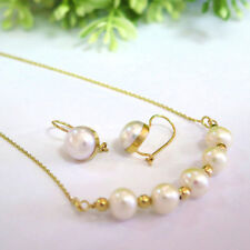 Adita SPECIAL 14K Solid Yellow Gold HANDMADE White Pearl SET Earrings & Necklace