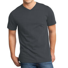 12 PACK ~ Fruit of the Loom Mens Charcoal Tag Free 100% Cotton V-Neck T-Shirts