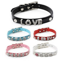 Personalised Pet Collar  Bling Rhinestone Letters DIY Name PU Leather  Dog Cat