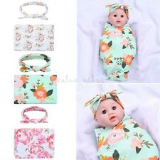 Newborn Floral Muslin Swaddle Baby Blanket Parisarc Wrap Headband Photo Props