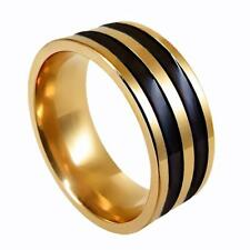 Fashion Classic Mens Stainless Steel Black Stripe Band Ring Finger Party Jewelry