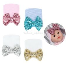 Newborn Infant Hospital Baby Girl Hat Knitted Cap with Sequin Big Bow Beanie Hat