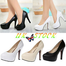 UK Womens Kitten Very High Heel Platforms Round Head Shoes Party Bridal Heels