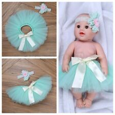 Newborn Toddler Infant Girls Flower Headband &Tutu Skirt Mint Green Photo Outfit