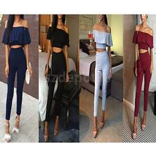 Women Short Sleeve Boat Neck Crop Top T-shirt And Pants Two Piece Set