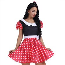 3Pcs Women Minnie Mouse Costume Polka Dot Halloween Chic Fancy Dress Cosplay