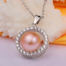 Womens 925 Sterling Sliver Necklace Natural Freshwater Pearl Pendant Jewelry
