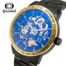 Gucamel Mens Automatic Mechanical Wristwatch Stainless Steel Male Skeleton Watch
