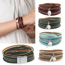PU Leather Wrap Wristband Punk Faux Pearl Multilayer Feather Bracelet Bangle