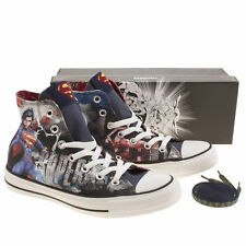 CONVERSE ALL STAR HI WOMENS BLUE RED FABRIC SUPERMAN HI TOPS TRAINERS UK4 - UK5