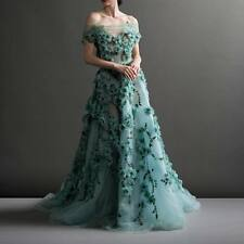Luxury Green Evening Dress Flower Applique Bead Prom Party Long Gown Custom
