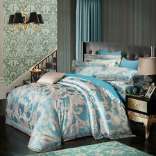 4pc. Luxury Aqua Blue Modal Silk Queen King Jacquard 600TC Duvet Cover Set