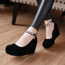 Womens Faux Suede Wedge High Heel Round Toe Ankle Strap Pumps Casual Shoes tokyo