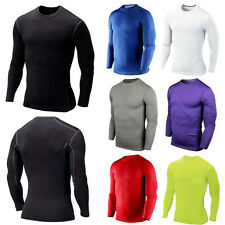 Mens Athletic Base Layer Long Sleeve Compression T Shirt Jogging Sport Wear Tops