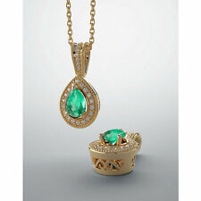 2.90 Cts Accented Emerald Pear Pendant, Colombian Emerald & Diamond Pendant