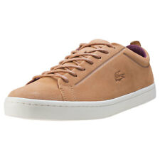 Lacoste Straightset 317 Premium Mens Tan Suede Casual Trainers Lace-up