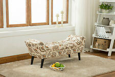 Footstool Ottoman Angled Bench Tufted Wood Legs Seat Table Fabric Upholstered